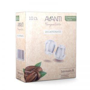 caja de 10 cápsulas compostables compatibles Nespresso descafeinado